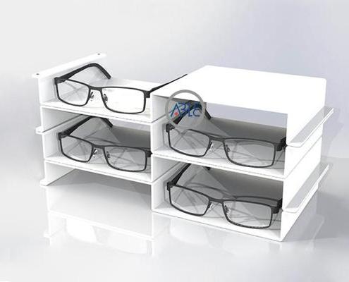 white acrylic eyewear display trays