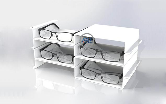 white acrylic eyewear display trays
