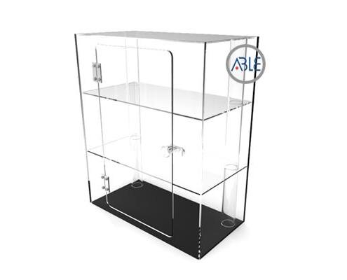 Square custom lockable acrylic cabinet