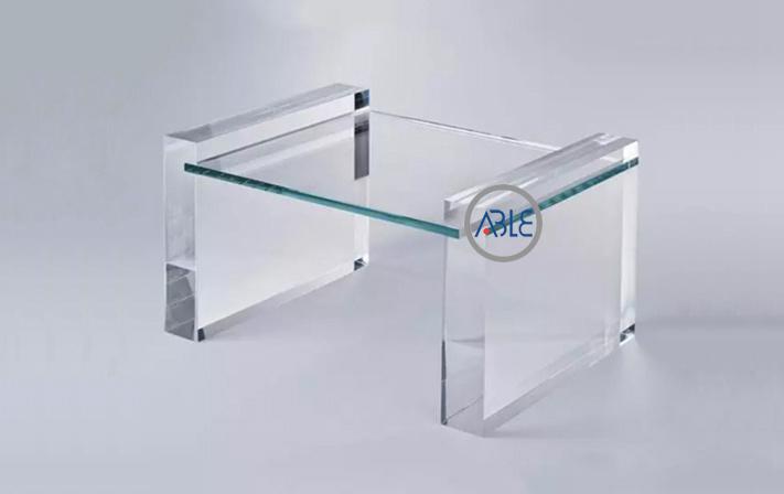 Plexiglass coffee table clear office desk
